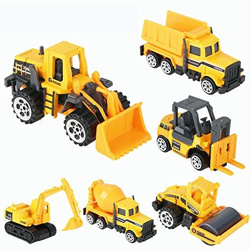ZJchao 6 pcs/ Juego de Juguete Educativo para Excavadora para Niños, Juguete de Camión de Ingeniería de Plástico de Aleación a Escala 1:64, Mini Modelo de Vehículo Regalo para Niños