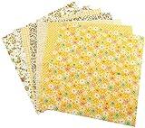 TOPINCN Cotone Tessuto Patchwork Quilting Tessuto Cotone Suite Letti Pre-Tagliati con Piazze Assortiti Scrapbooking per Cucire Fai da Te Quilting Set 7pcs 50 * 50cm(Yellow)