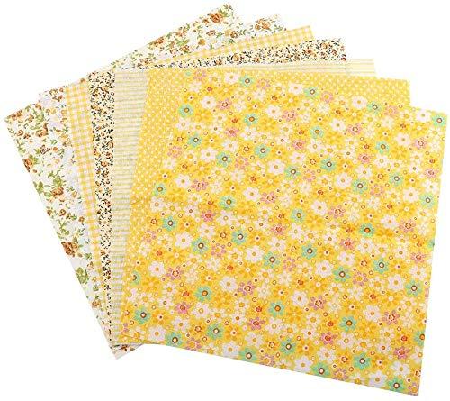 TOPINCN Tela de algodón Surtido Cuadrados precortados Suite Cuartos Paquete DIY Costura Scrapbooking Acolchar Set 7pcs 50 * 50 cm (Amarillo)