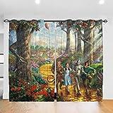 Wizard of Oz - Cortina opaca para dormitorio o sala de estar, habitación de los niños, 132 x 213 cm, 2 paneles