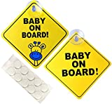Baby on Board Sticker for Cars, Signs for car, 5' by 5' Warning Sticker Notice Board with Suction Cups and Nano Stick (2 Pack)