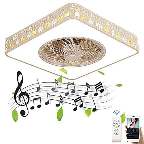 Plafón Bluetooth de Cuadrados LED Invisible Ventiladores de Techo con Luz y Mando a Distancia Lámpara de Techo Musica Ultra Silencioso Fan Iluminación para Dormitorio Salón 3000-6500K Ø50CM