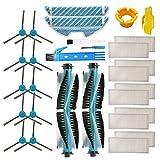 BSDY YQWRFEWYT Kit de Accesorios para Cecotec Conga 1290 Cecotec Conga 1390 Robot Aspiradora Piezas de Repuesto Paquete de 2 Cepillo Principal, 10 filtros Hepa, 10 cepillos Laterales, 2 trapeadores