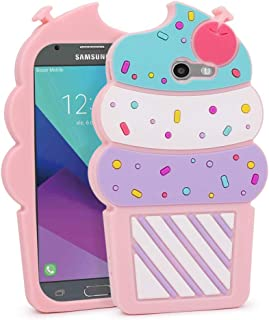 YONOCOSTA Galaxy J3 Emerge Case, 3D Cute Cartoon Cupcakes Ice Cream Shaped Soft Silicone Case Shockproof Back Cover for Samsung Galaxy J3 2017 / J3 Prime/Amp Prime 2 / Express Prime 2 (Pink-1)