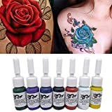 Tinta Profesional para Tatuajes DIY Tattoo Pigment Practice Set Beauty, Body de Larga duración Tattoo Practice Pigment 5ml para 3D Makeup Beauty Skin Body Paint Art (7 Piezas)