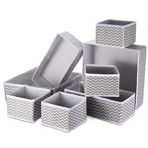 8PCS Organizadores de Cajones de Tela Oraganizador de Cajón Plegable Cajas de Almacenamiento Flexibles para Organizar la Ropa Interior, Sujetadores, Calcetines, Pañuelos,3 tamaños