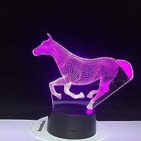 3DイリュージョンランプLEDナイトライトタッチキッズベッドルームの装飾リモコン付きランニングホース7色おむつ交換台ランプ最高の誕生日ホリデーギフト子供