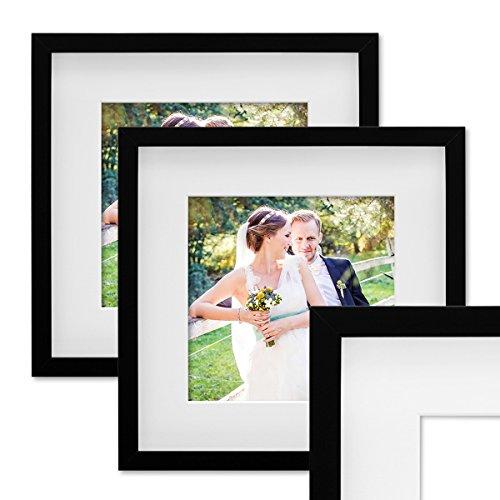 Photolini Set de 2 Marcos de Fotos de 20x20 cm, Marco 3D, en Color Negro, Marco-MDF, con Soporte y Cristal/Marco de Fotos