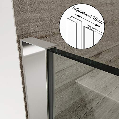 Elegant 800mm Walk in Shower Screen 6mm Tougheded Safety Wet Room with 300mm Flipper Panel,Aluminum Support bar Included