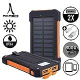 AKASHI TECHNOLOGY - Batterie Externe Solaire, 8,000 mAh Turbo Chargeur Torche LED et Anti-Choc - Noir et Orange