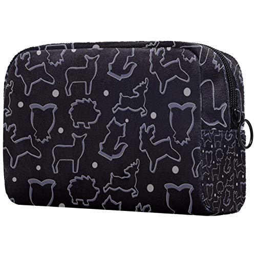 KAMEARI Bolsa cosmética negra animal cortador de galletas patrón grande bolsa cosmética organizador multifuncional bolsas de viaje