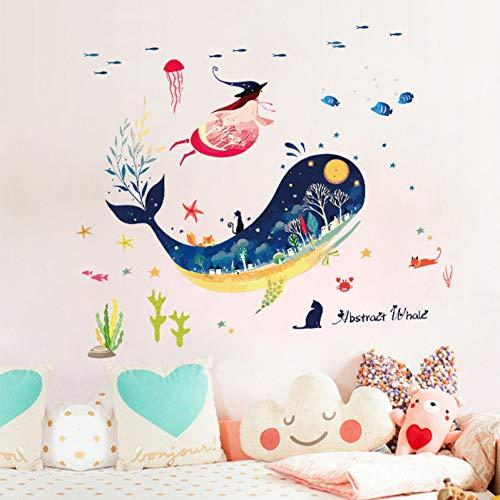 TAOYUE Cartoon Adesivi murali balena astratta Cameretta per bambini Bagno Nursery Strega Adesivi murali Carta da parati rimovibile Decorazioni per pareti in PVC
