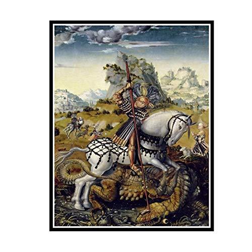 IUYTRF Lucas Cranach The Elder: St George et le Dragon affiche en soie peinture décorative-50X75 cm sans cadre 1 pièces
