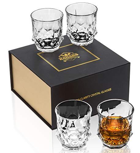 KANARS Vasos de Whisky, Copas de Whisky Cristal 100% Sin Plomo, 300...