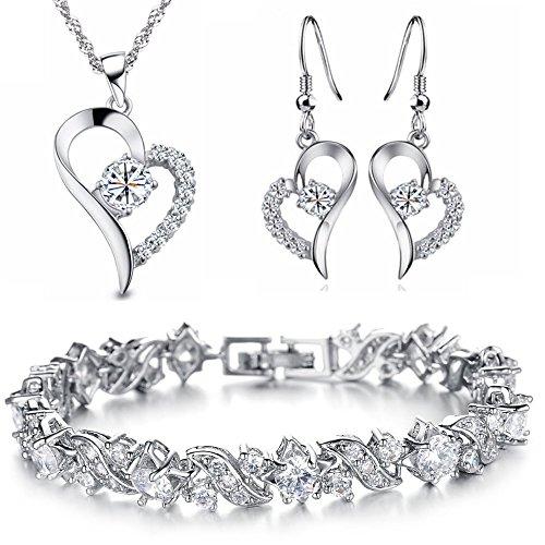 Kim Johanson Damen Schmuckset *White Heart* Halskette mit Anhänger, Ohrringe & Armband in Silber aus Edelstahl mit Zirkonia Steinchen besetzt inkl. Schmuckbeutel