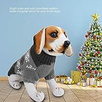 犬のセーター、クリスマスの服小さな犬のセーター、犬の冬の服雪片は子犬のセーターのために柔らかくて耐久性がありますかわいいペットの犬のセーター(gray, L)
