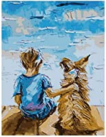 海岸の少年と犬の家の装飾の絵画の壁画を描くデジタル図