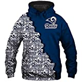 NFLパーカープルオーバートレーナー - ロサンゼルスラムズ3Dラグビーファンスポーツ野球ユニフォームティーン春のジャケットスポーツ長袖Tシャツ Blue-XXXXL