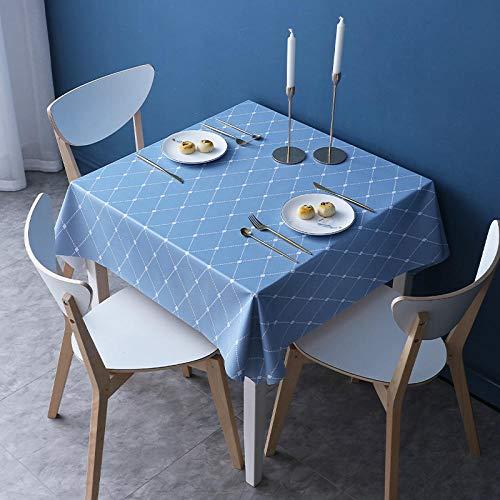 Kuingbhn Mantel Lavable Rectangular Resistente Al Agua PVC Anti Escaldado Fácil de Limpiar para Jardín Habitaciones Decoración de Mesa Azul Gris B 110×160cm