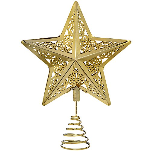WeRChristmas-Decorazione natalizia a forma di stella 30 cm, con puntale per albero di Natale, colore: oro