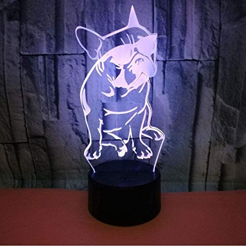 Baby Spielzeug Bulldog francés con gafas de sol LED 3D luces de noche luminosas para perro sueño Iluminación 7 cambio de color remoto luces emocionales regalos para los amantes de los perros