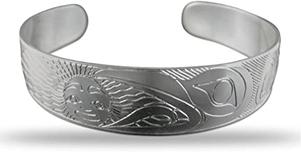 Sterling Silver Raven Pacific Northwest Coast Native 1/2 Inch Wide Bracelet