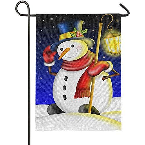 jiaxingdalin Weihnachten Schneemann mit Laterne Sackleinen Garten FlaggeWillkommen Winter Weihnachten Yard Flags, rustikale Outdoor-Banner für Weihnachtsdekorationen