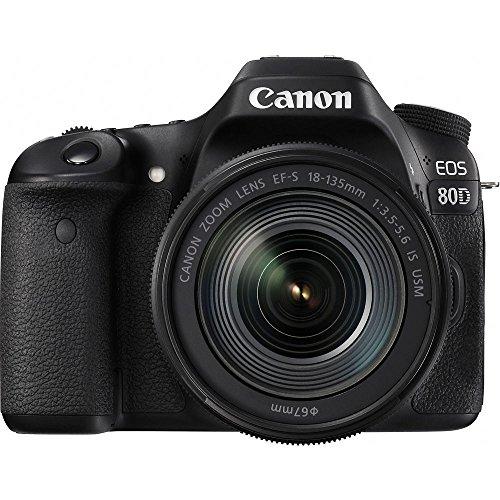 Canon EOS 80D Spiegelreflexkamera Gehäuse + EF-S 18-135 IS Nano USM (24,2 MP, DIGIC 6, FULLHD, DualPixel AF) schwarz