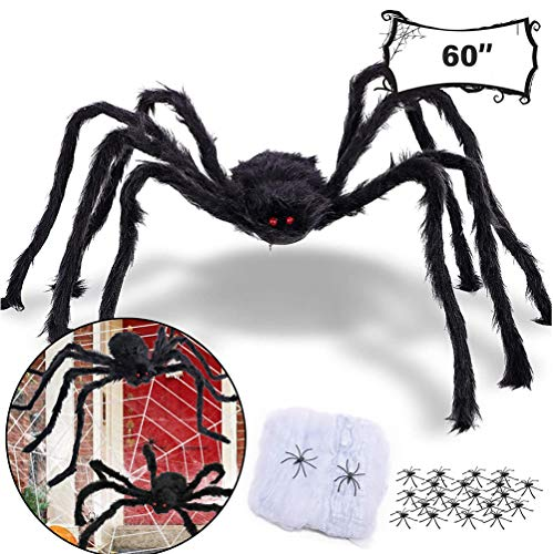 Vintree 150cm Gigante Araña Peluda Halloween Decoraciónes Fiesta Juguetes Telaraña de Halloween Tela de araña densa Estirable de 200 pies Cuadrados para Decoraciones de Interior y Exterior