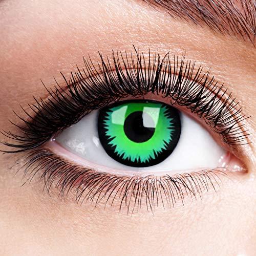 Farbige Kontaktlinsen mit Stärke Green Werewolf Grün Devil Motiv Linsen Halloween Karneval Fasching Cosplay Anime Manga Ohne Rand Grüne Augen Green Eye Hexe Hulk - 4,5 dpt