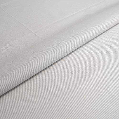 Hans-Textil-Shop 1 Meter Stoff Meterware Streifen 1 mm Baumwolle - Mit Streifenmuster für Kinder, Deko, Bettwäsche, Kleidung (Grau)