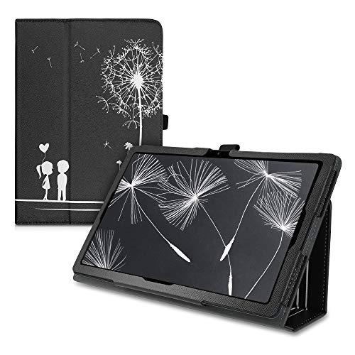 kwmobile Custodia Compatibile con Samsung Galaxy Tab A7 10.4 (2020) - Cover Tablet con Supporto - Copertina in Pelle PU Smart Case con Stand - Amore Bianco/Nero