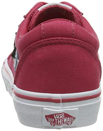 Vans Ward Canvas, Sneaker, Rosa ((Butterflies) Claret Red/White Wg4), 34.5 EU