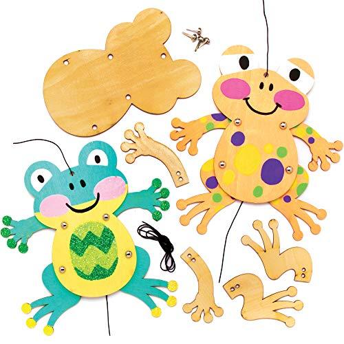 """Baker Ross Bastelsets Holzfiguren """"Frosch"""" (4 Stück) – Bastelidee zu Ostern für Kinder zum Zusammensetzen und Dekorieren"""