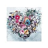 FeiyanfyQ Punk Tête de Mort Fleur Cœur 5d DIY Full Diamant Peinture DIY Point de Croix Décoration Murale, Rose, 25cm x 25cm
