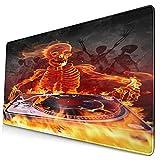 Grande Juego de Azar Alfombrilla de Ratón-75 x 40cm,Rock Skull Flame Skull Música DJ Retro Punk Terror,Alfombrilla de Teclado con Bordes Cosidos para el Cojín de Escritorio de la Computadora Portátil