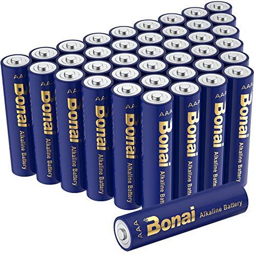 Batterie Alcaline AAA 1.5 Volt BONAI Pile Ministilo Alcaline AAA LR03,per l'alimentazione di dispositivi di uso quotidiano (Longlife,40 Pezzi)