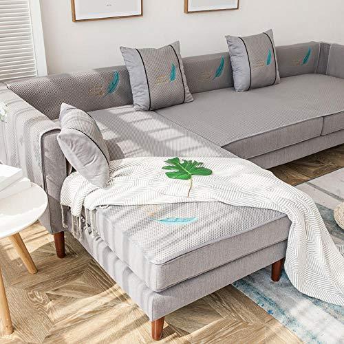 Homeen Funda de sofá cheslong,Cubierta de sofá de Verano para sofá de Cuero,sofá de 2/3/4 plazas de Asas de sofá,Sala de Estar sin Deslizamiento Sofá Cubiertas de Asiento-Gris_70 * 150cm