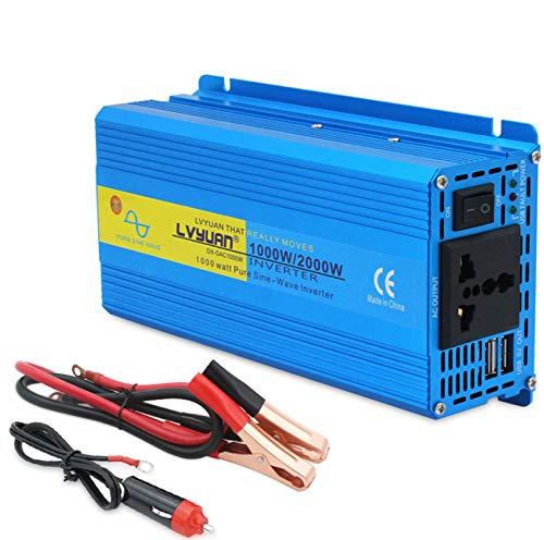 Inversor de alimentación 1000W / 2000W Peak DC 12V TO AC 110V 220V Convertidor de automóviles con 2 Puertos USB LCD Ventiladores Inteligentes para camión RV Barco de