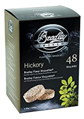 Chips from natural hardwoods and fruitwoods Produces clean continuous smoke Includes 48 bisquettes for approximate 16 total hours of smoke For use with the Bradley Smoker Bradley smoker hickory bisquettes are rendered from natural hardwoods without a...