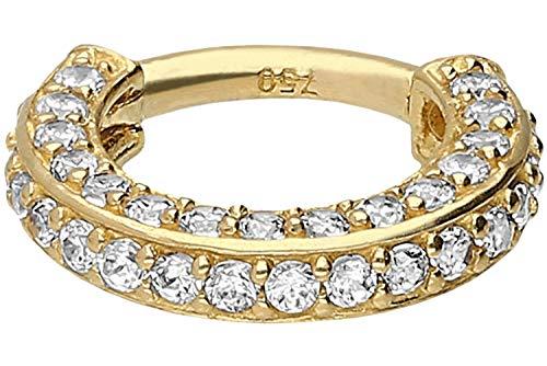 PIERCINGLINE 18 Karat Echtgold Segmentring Clicker | Piercing Ring Septum Helix Tragus | Farben & Größenauswahl | Kristallrand