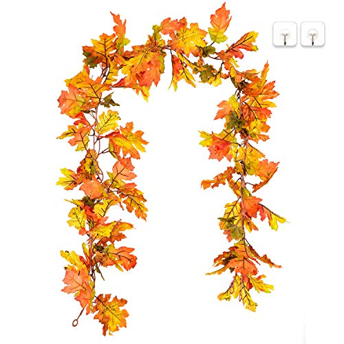 DearHouse 2 Pack Artificial Maple Leaf Garlands, 5.9 ft/Piece Autumn Hanging Fall Leave Vines for Indoor Outdoor Wedding Thanksgiving Dinner Party Fireplace Christmas Decor