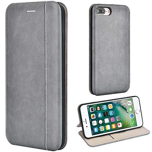 Leaum Handyhülle für Apple iPhone 7 Plus/8 Plus Hülle, Premium Leder Tasche Flip Schutzhülle (Grau)