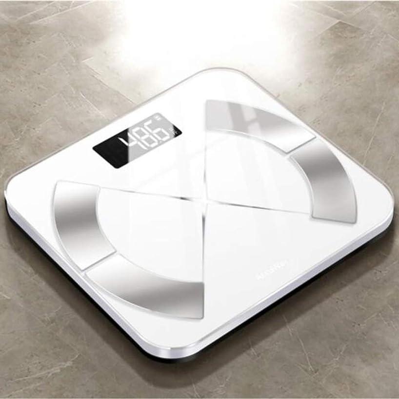 塩辛い取る圧縮された家庭用インテリジェント脂肪スケール、大人の小さくて正確な小さな体重の減少電子体重体脂肪スケール - 11.4x11.4x0.8inch ZHHCP (Color : White)