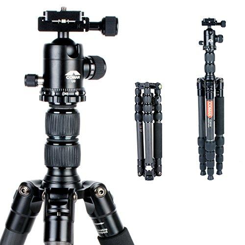 """Stativ, COMAN C2016 Carbon Fiber 56.7\"""" Professionelle Compact Kamerastativ für Reisen mit 360 Grad Kugelkopf für Canon Nikon Sony Camcorder DSLR Kamera und Video"""