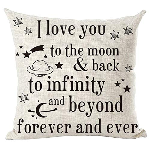 ramirar Word Art Quote I Love You To The Moon & Back To Infinity And Beyond Forever And Ever Decorative Throw Pillow Cover Case Cushion Home Living Room Bed Sofa Car Cotton Linen Square 18 x 18 Inches