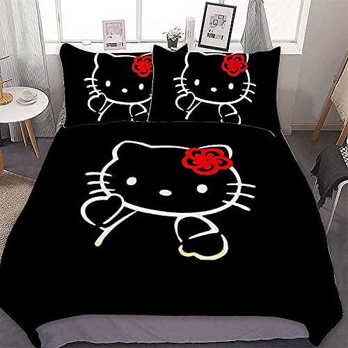 CZBSMGS Hello Kitty - Juego de funda de edredón y 2 fundas de almohada (220 x 240 cm + 80 x 80 cm), diseño de Hello Kitty