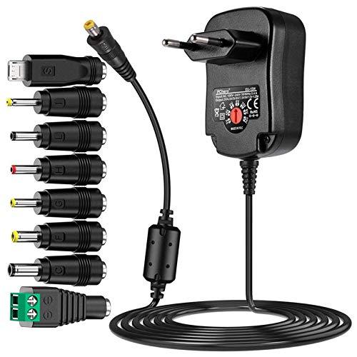 PChero 15W Universal Steckernetzteil mit 150cm Kabel und 8 Abnehmbar DC Stecker für 3V-12V Haus Elektronik und USB-Geräte, 1500mA Max