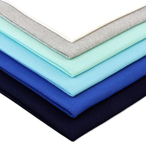 Neumann Handelsvertrieb 6 x 0,25m Bündchenstoff Uni Schlauchware 150 cm (2 x 70 cm als Schlauch) 96% Baumwolle 5% Elasten insgesamt 1,5 m Bündchen (Blautöne)