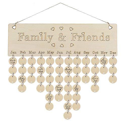Anniversaire Famille Calendrier Tenture Rappel Anniversaire avec Pendentif Ronde décoration de la Maison